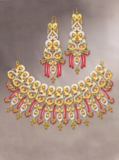 Pakistani Party Jewellery set with Red Semi Precious Stones [PJB2004]