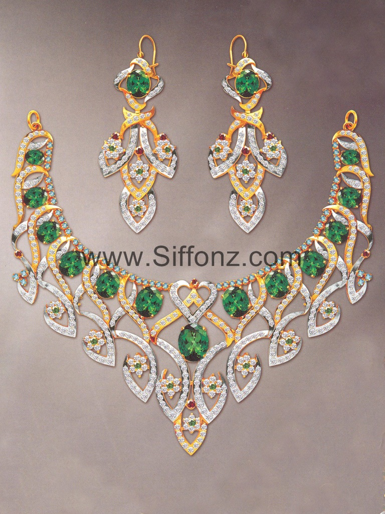 Pakistani Party Jewellery set with Green Semi Precious Stones ...