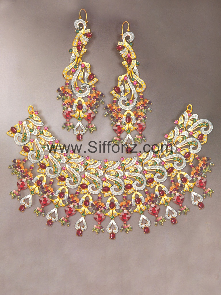Pakistani Party Jewellery set with Red Semi Precious Stones ...