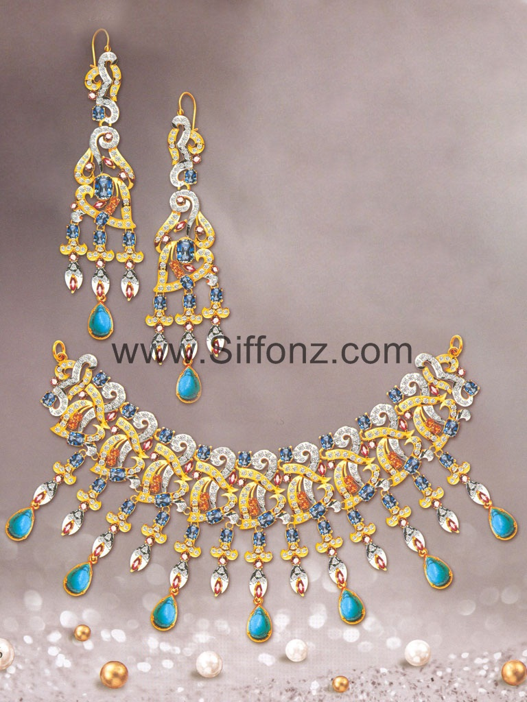 Pakistani Party Jewellery set with Sea Green Semi Precious Stone ...