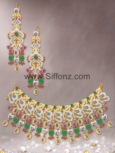 Pakistani Party Jewellery set with Green Semi Precious Stones [PJB2028]