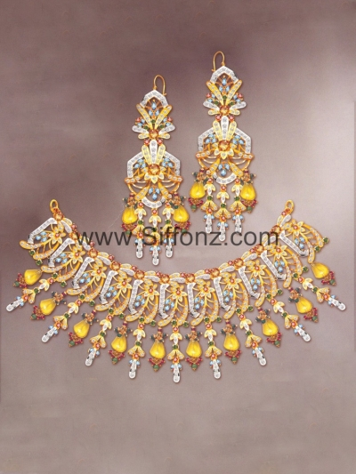 Pakistani Party Jewellery Set With Yellow Semi Precious